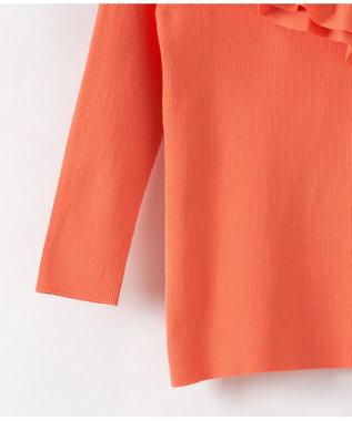 GRACE CONTINENTAL フリルハイゲージニットTOP オレンジ
