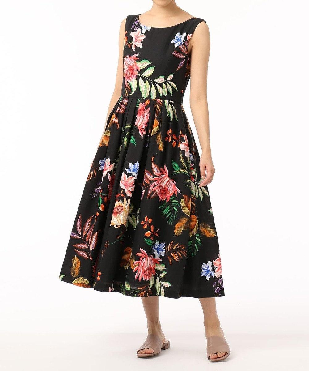 GRACE CONTINENTAL リネンボタニカルプリントドレス ブラック