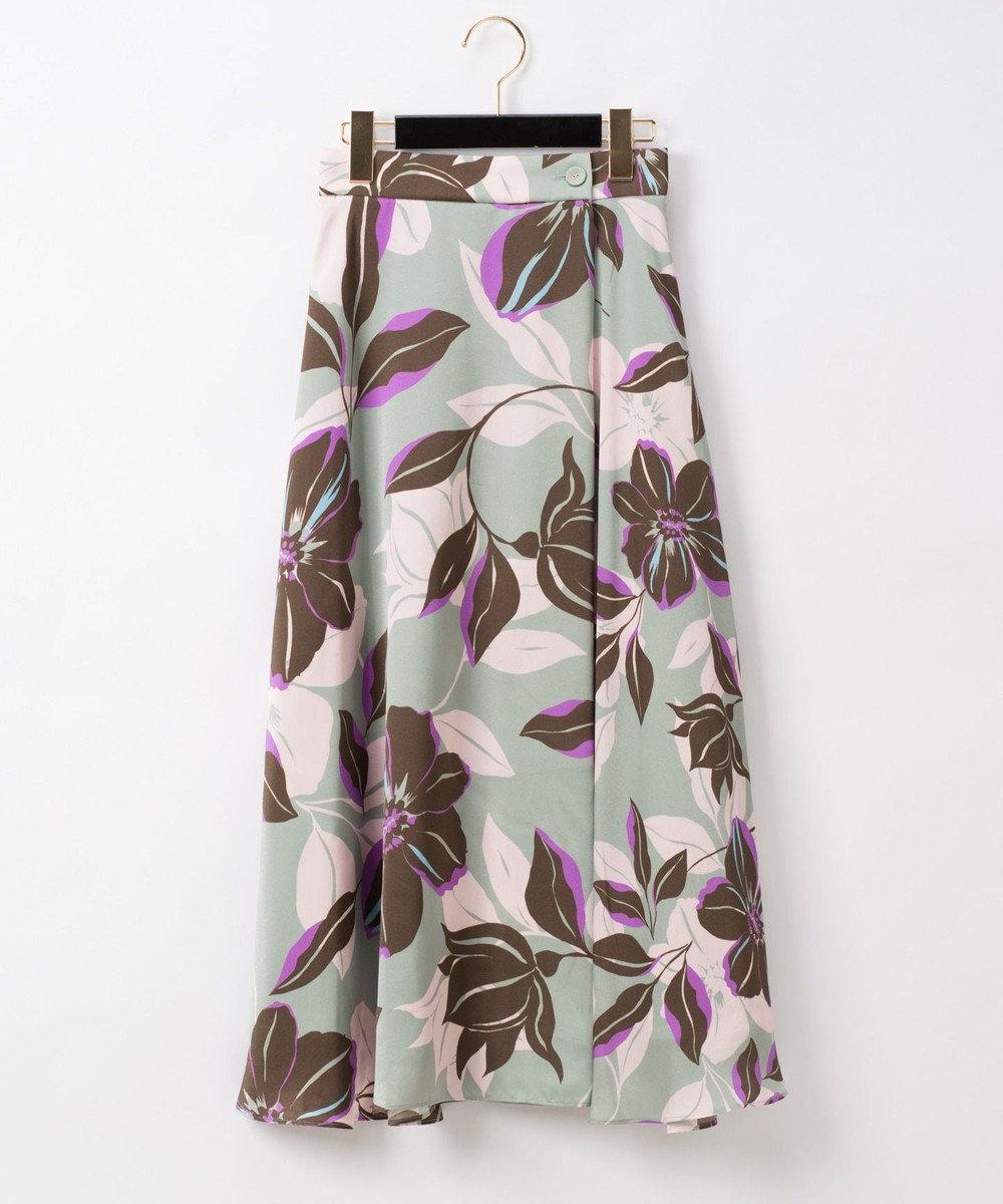 GRACE CONTINENTAL フラワーフレアラップスカート カーキ