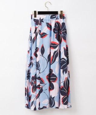 GRACE CONTINENTAL フラワーフレアラップスカート サックス