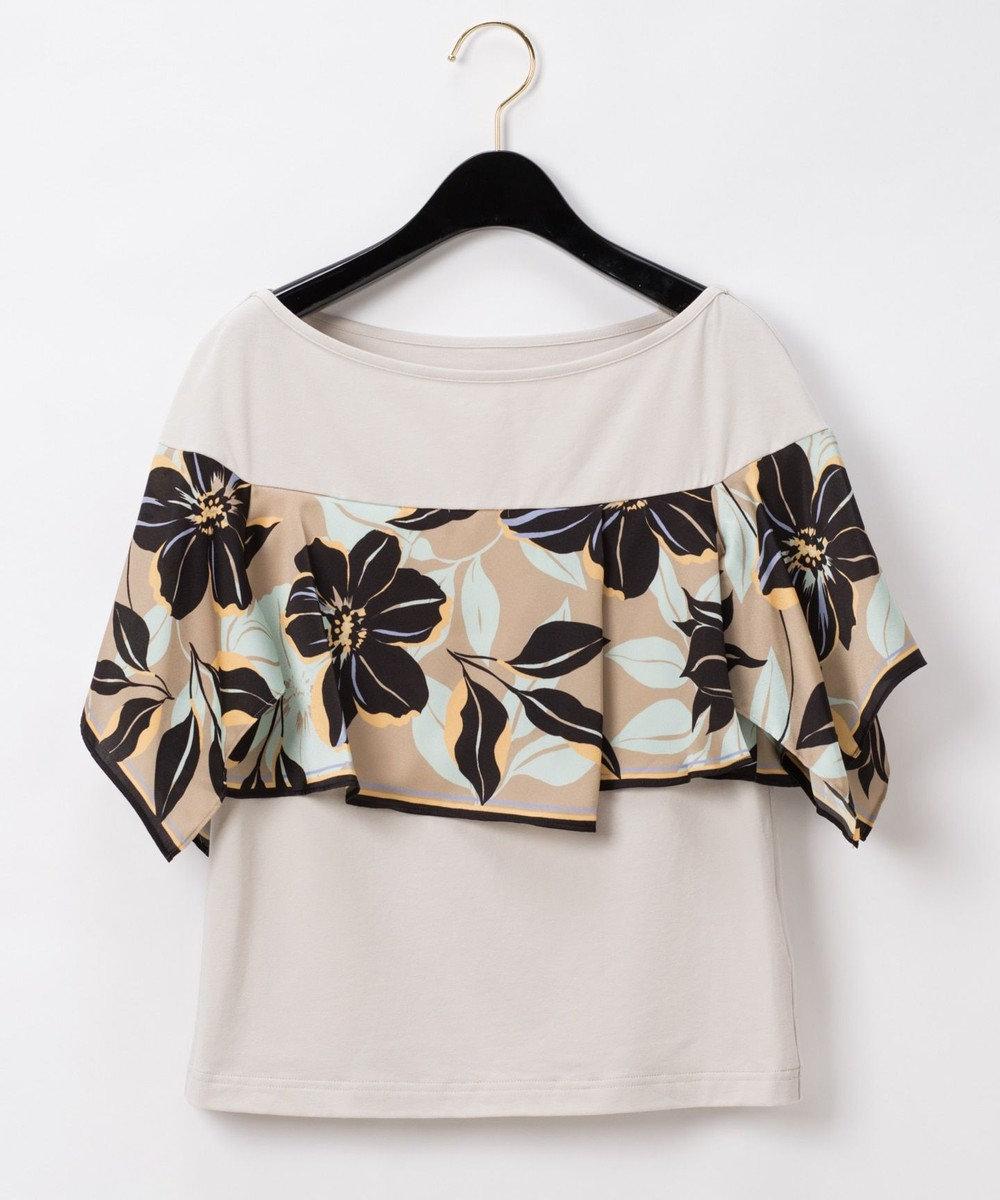 GRACE CONTINENTAL アシメフラワースカーフTシャツ ベージュ