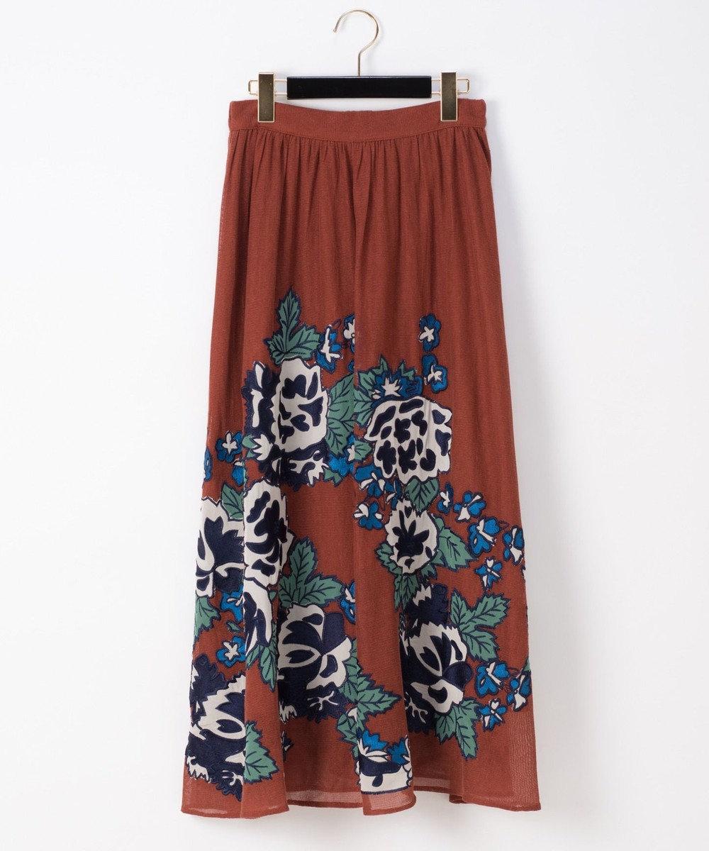 GRACE CONTINENTAL パッチワーク刺繍スカート レンガ