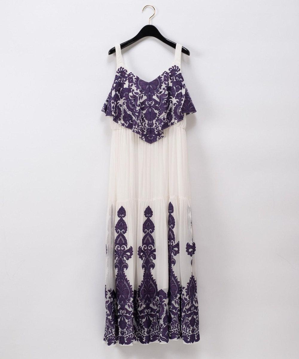 GRACE CONTINENTAL アラベスク刺繍ロングワンピース ホワイト