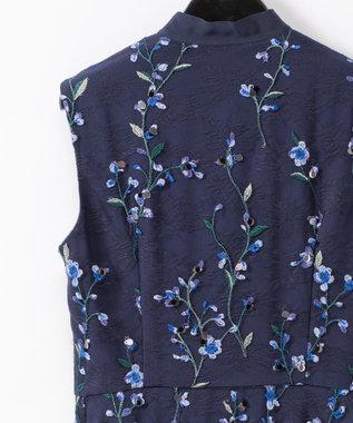 GRACE CONTINENTAL フラワースパンコール刺繍ワンピース ネイビー