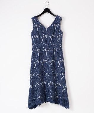 GRACE CONTINENTAL 刺繍セミロングドレス ネイビー