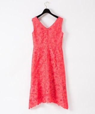 GRACE CONTINENTAL 刺繍セミロングドレス レッド