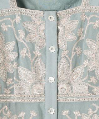 GRACE CONTINENTAL フラワー刺繍ショートノースリーブ ミント