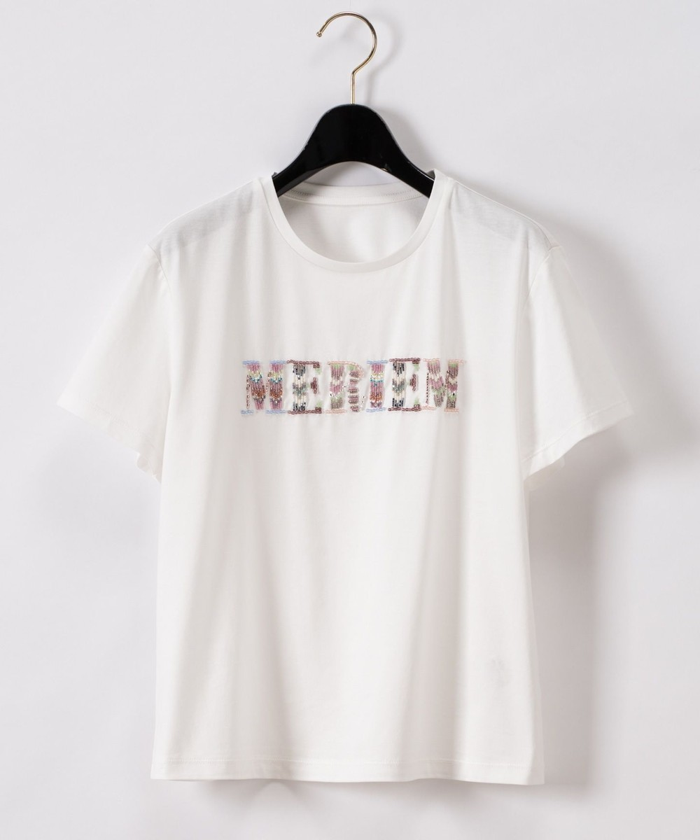 ビーズ刺繍ロゴTシャツ
