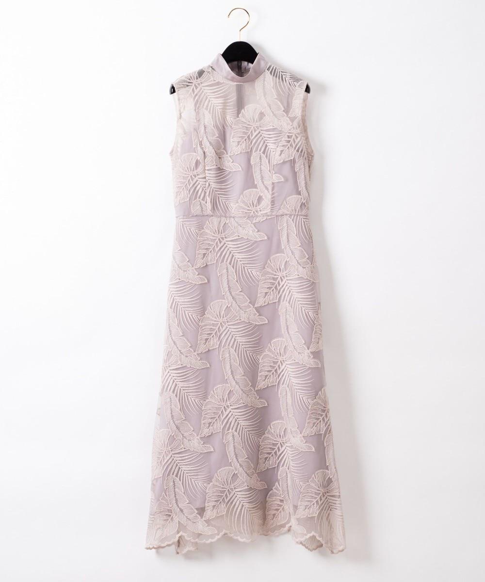 リーフレースハイネックドレス
