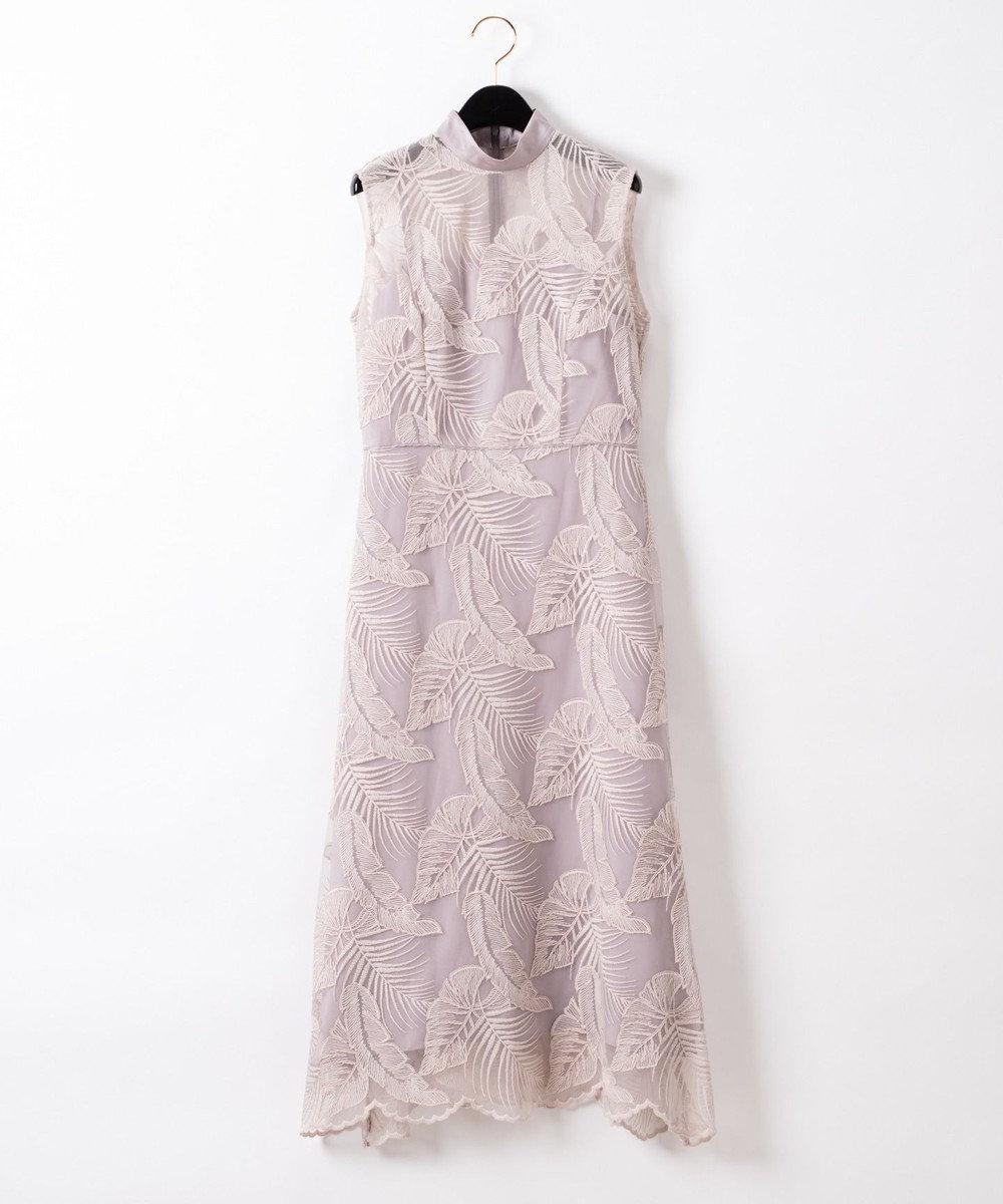 GRACE CONTINENTAL リーフレースハイネックドレス グレー