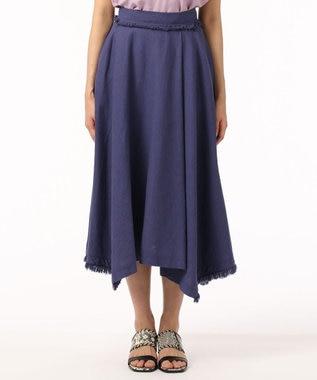 GRACE CONTINENTAL フリンジラップ風スカート パープル