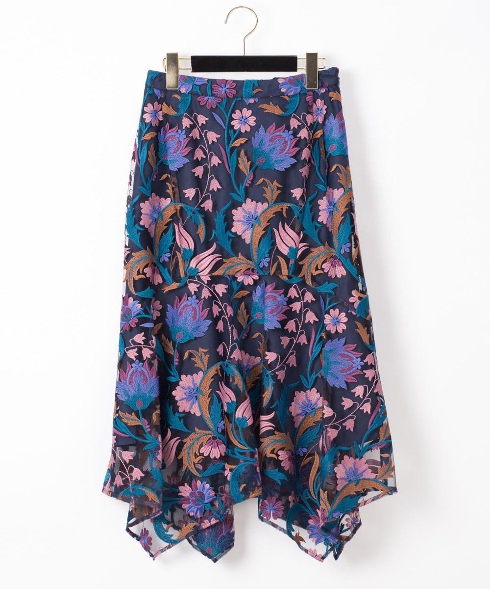 フラワー刺繍イレヘムスカート