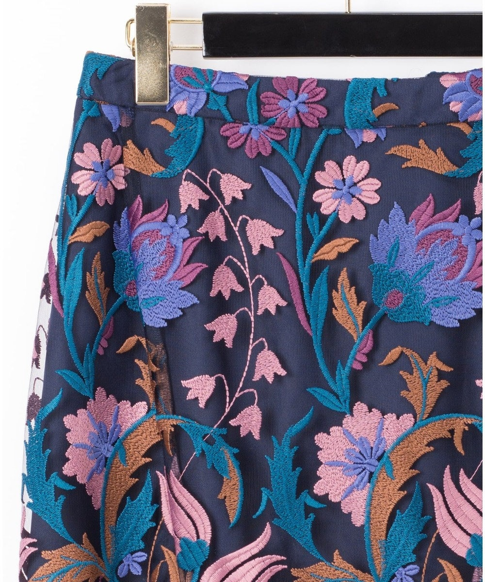 GRACE CONTINENTAL フラワー刺繍イレヘムスカート ブルー