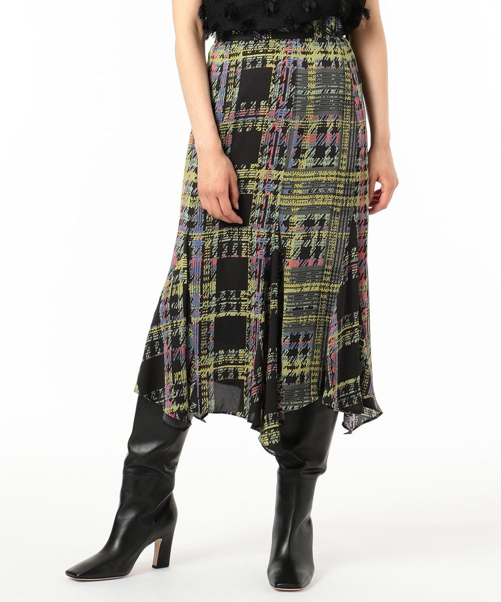 GRACE CONTINENTAL チェックプリントスカート ブラック