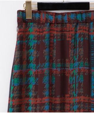 GRACE CONTINENTAL チェックプリントスカート ブラウン