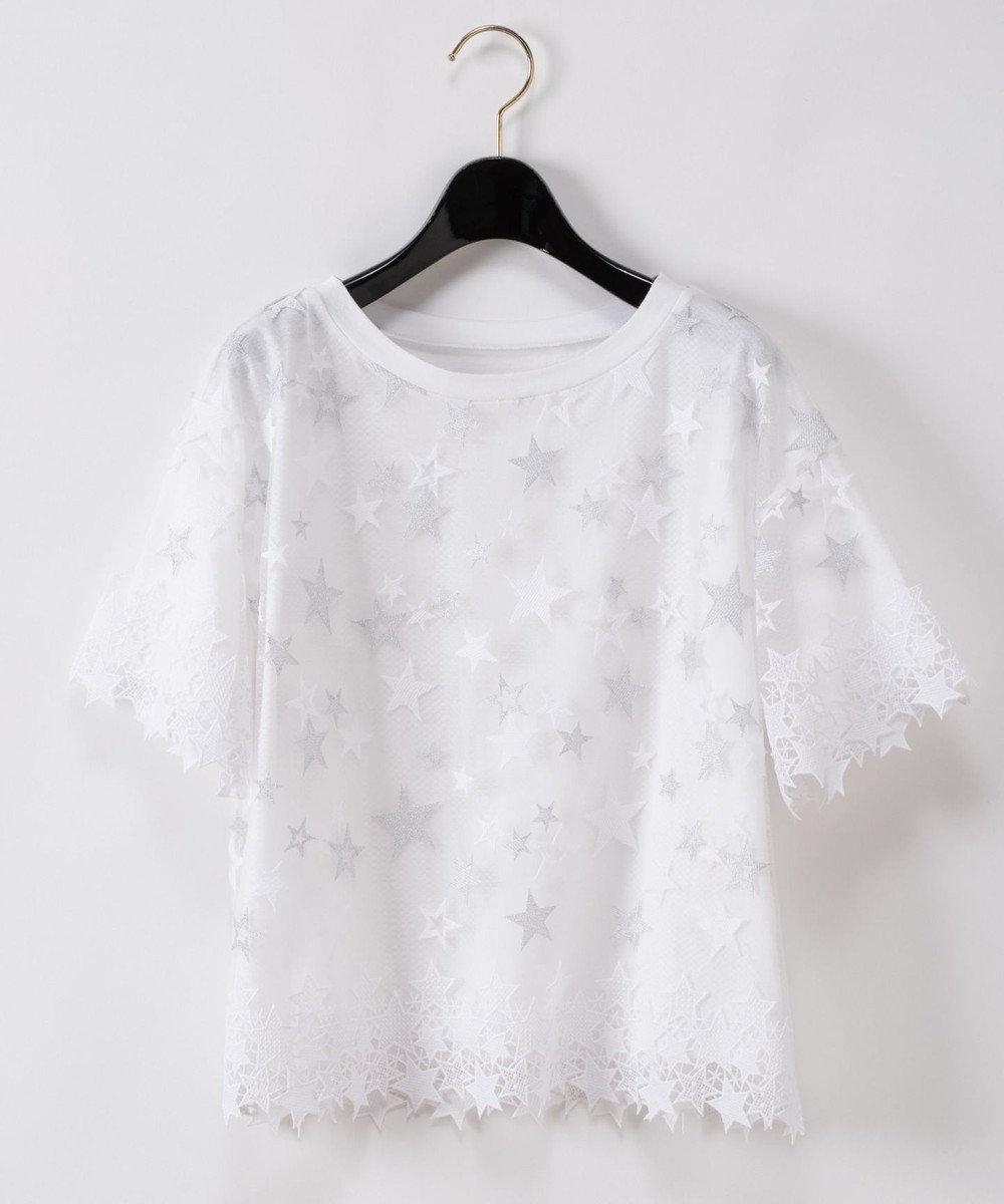 GRACE CONTINENTAL スター刺繍トップ ホワイト