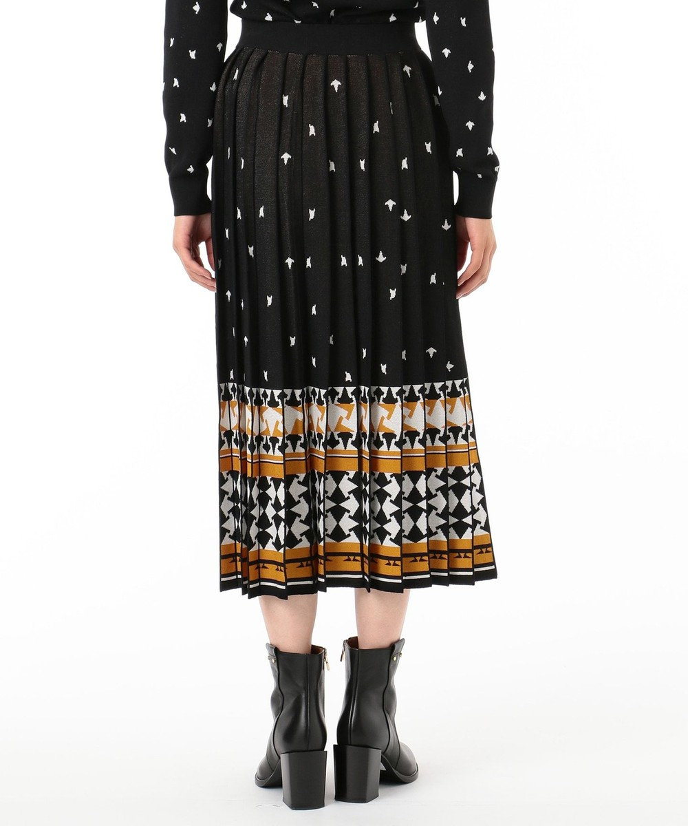 GRACE CONTINENTAL キカ柄JQプリーツニットスカート ブラック