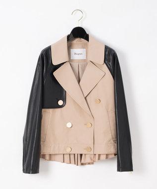 レザーミックストレンチジャケット