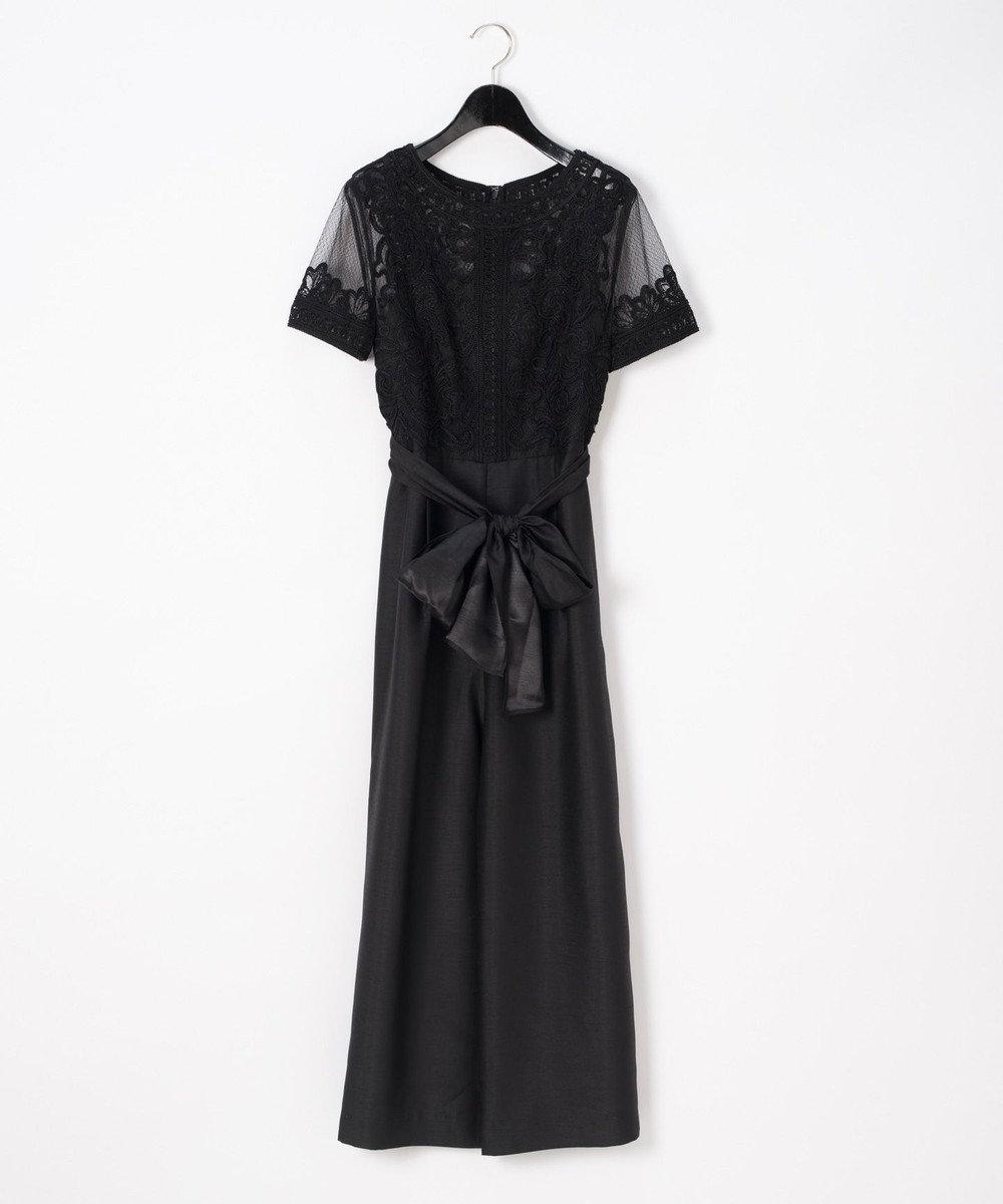 GRACE CONTINENTAL コード刺繍ワイドサロペット ブラック