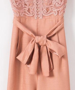 GRACE CONTINENTAL コード刺繍ワイドサロペット ピンク