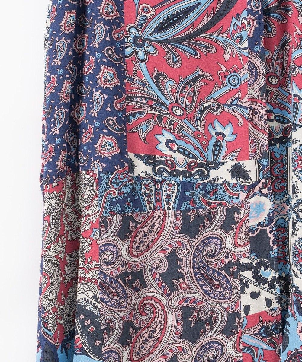 GRACE CONTINENTAL マルチプリントフレアラップスカート ブルー