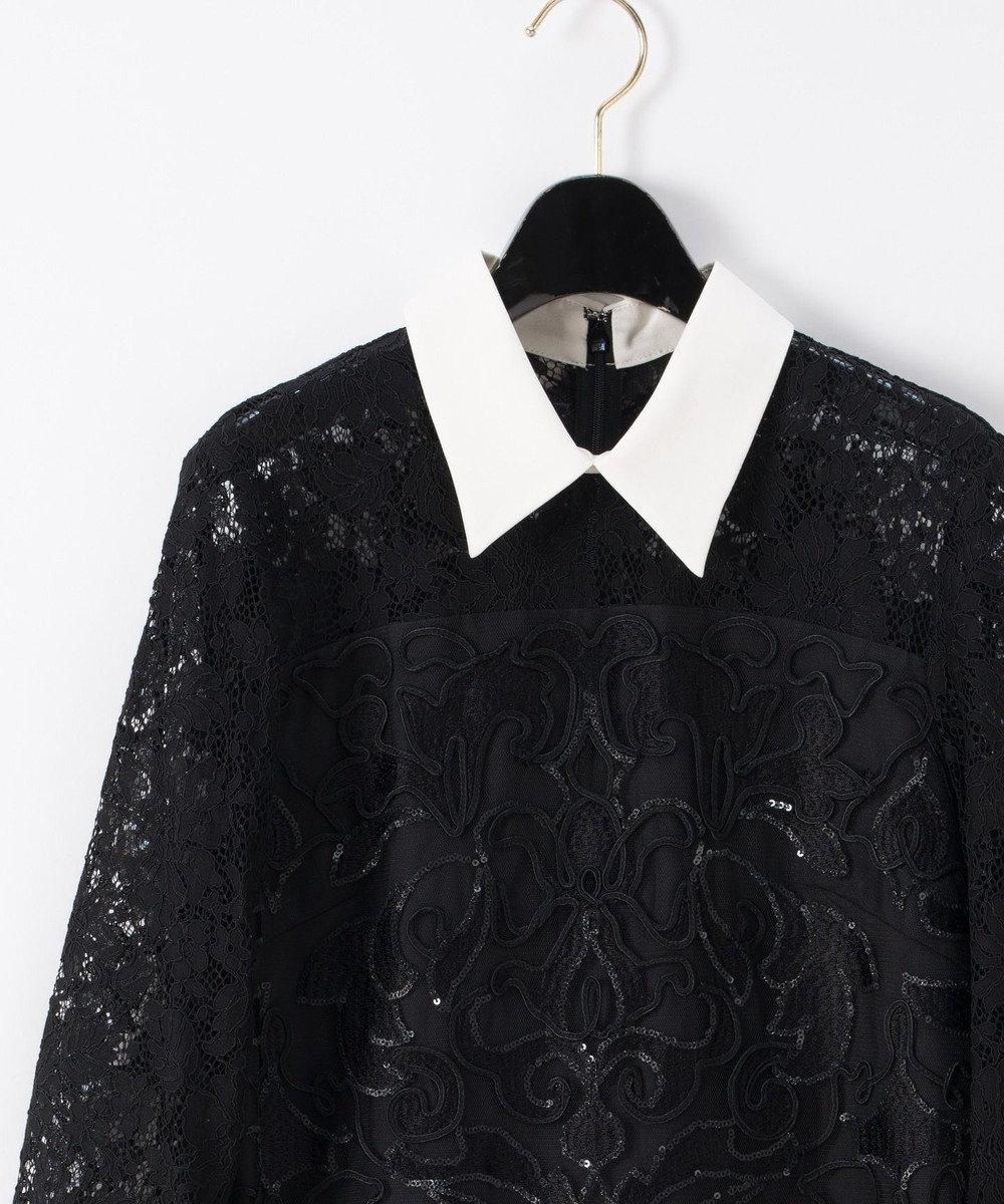 GRACE CONTINENTAL コード刺繍タイトワンピース ブラック
