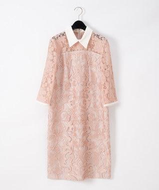GRACE CONTINENTAL コード刺繍タイトワンピース ピンク