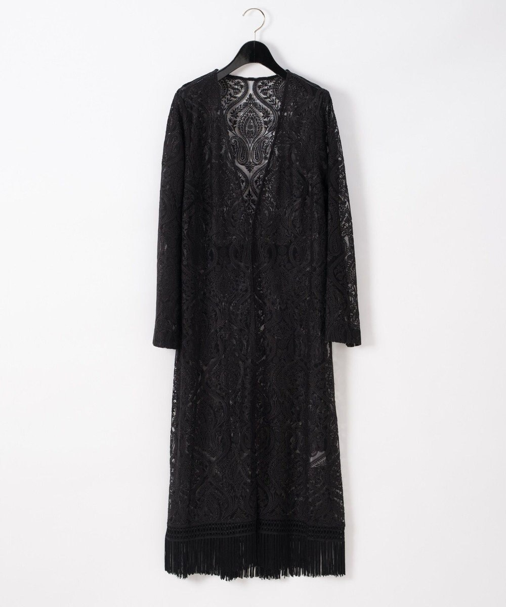 GRACE CONTINENTAL ペイズリー刺繍ガウン ブラック