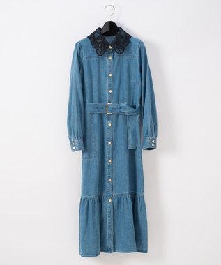 デニム刺繍衿ワンピース