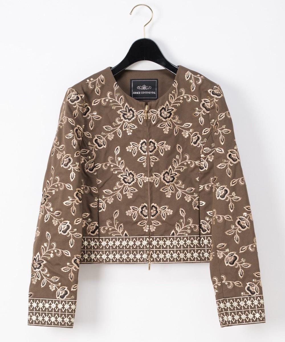 刺繍ノーカラージャケット