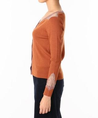 GRACE CONTINENTAL レース切替リブニットカーディガン オレンジ