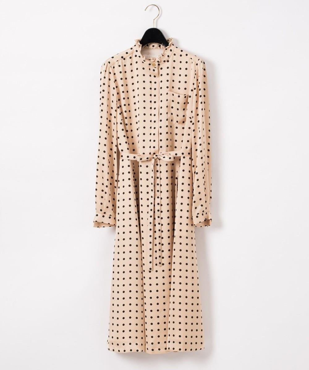 ドットプリントシャツドレス