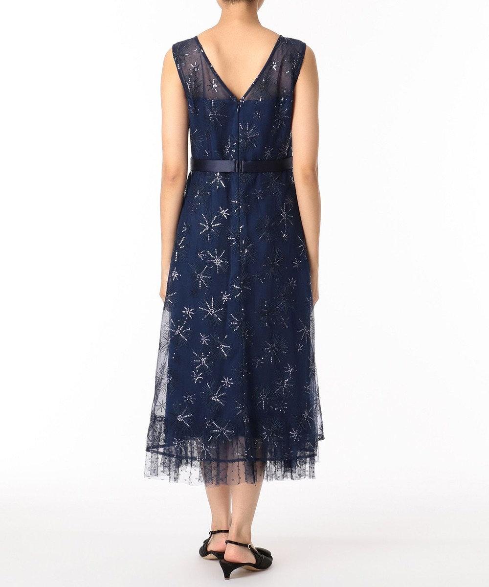 GRACE CONTINENTAL ラメスパン刺繍ドレス ネイビー