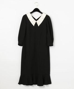 GRACE CONTINENTAL ビジュー衿バイカラーワンピース ブラック