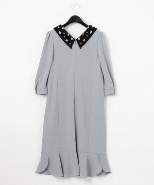 GRACE CONTINENTAL ビジュー衿バイカラーワンピース ブルー