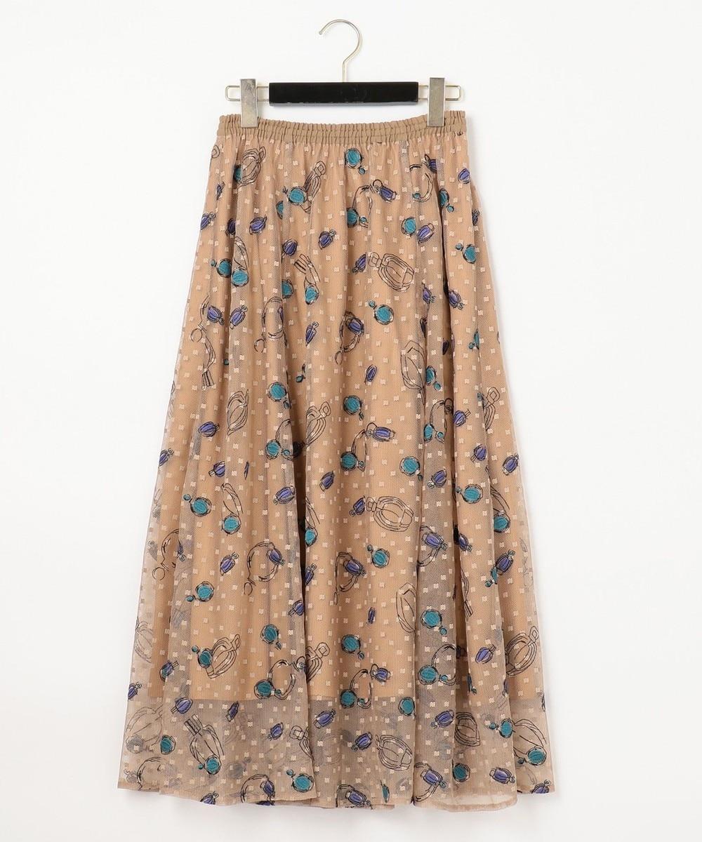 コスメ刺繍チュールスカート