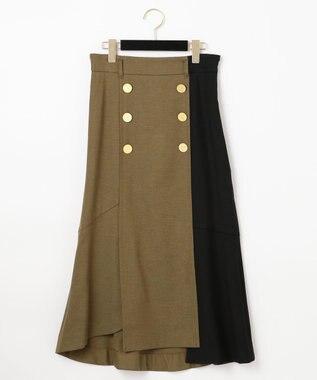 GRACE CONTINENTAL ベルト付ダブルボタンスカート カーキ