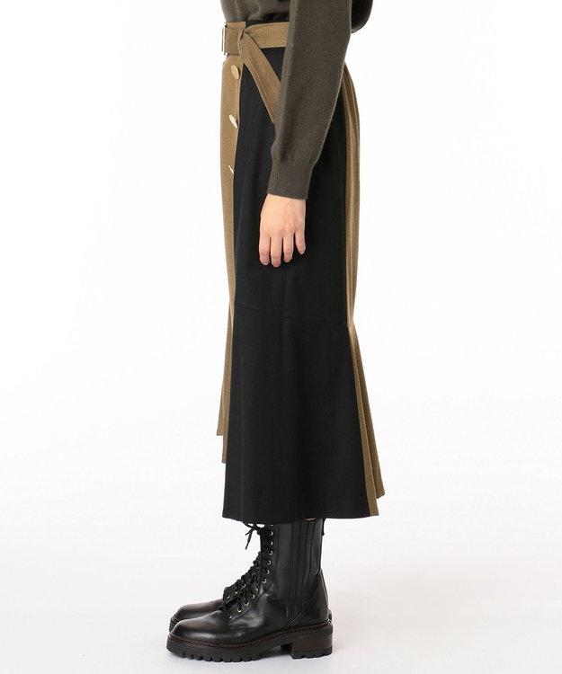 GRACE CONTINENTAL ベルト付ダブルボタンスカート