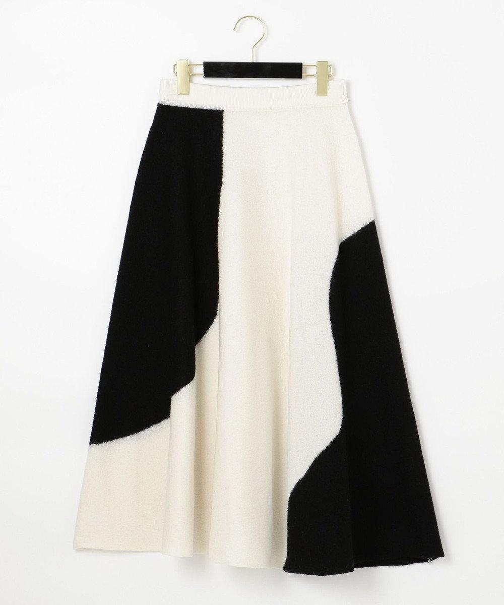 GRACE CONTINENTAL 配色パターン圧縮スカート ホワイト