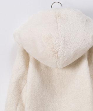 GRACE CONTINENTAL フードファーダブルコート ホワイト