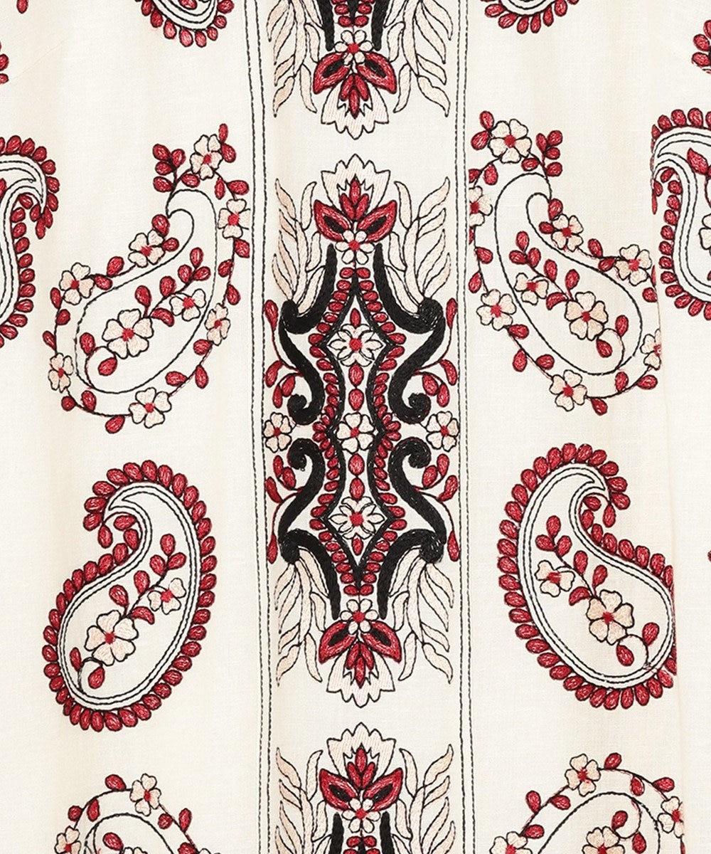 GRACE CONTINENTAL ペイズリー刺繍ミニワンピース キナリ