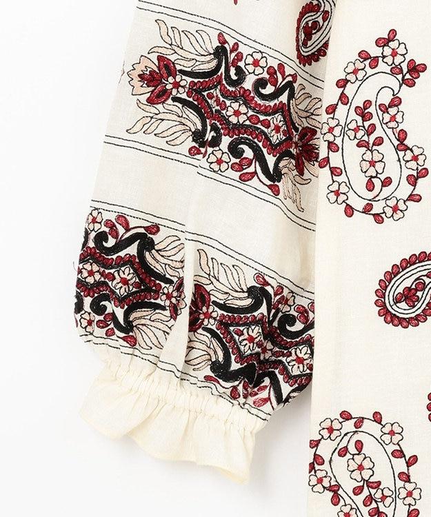 GRACE CONTINENTAL ペイズリー刺繍ミニワンピース