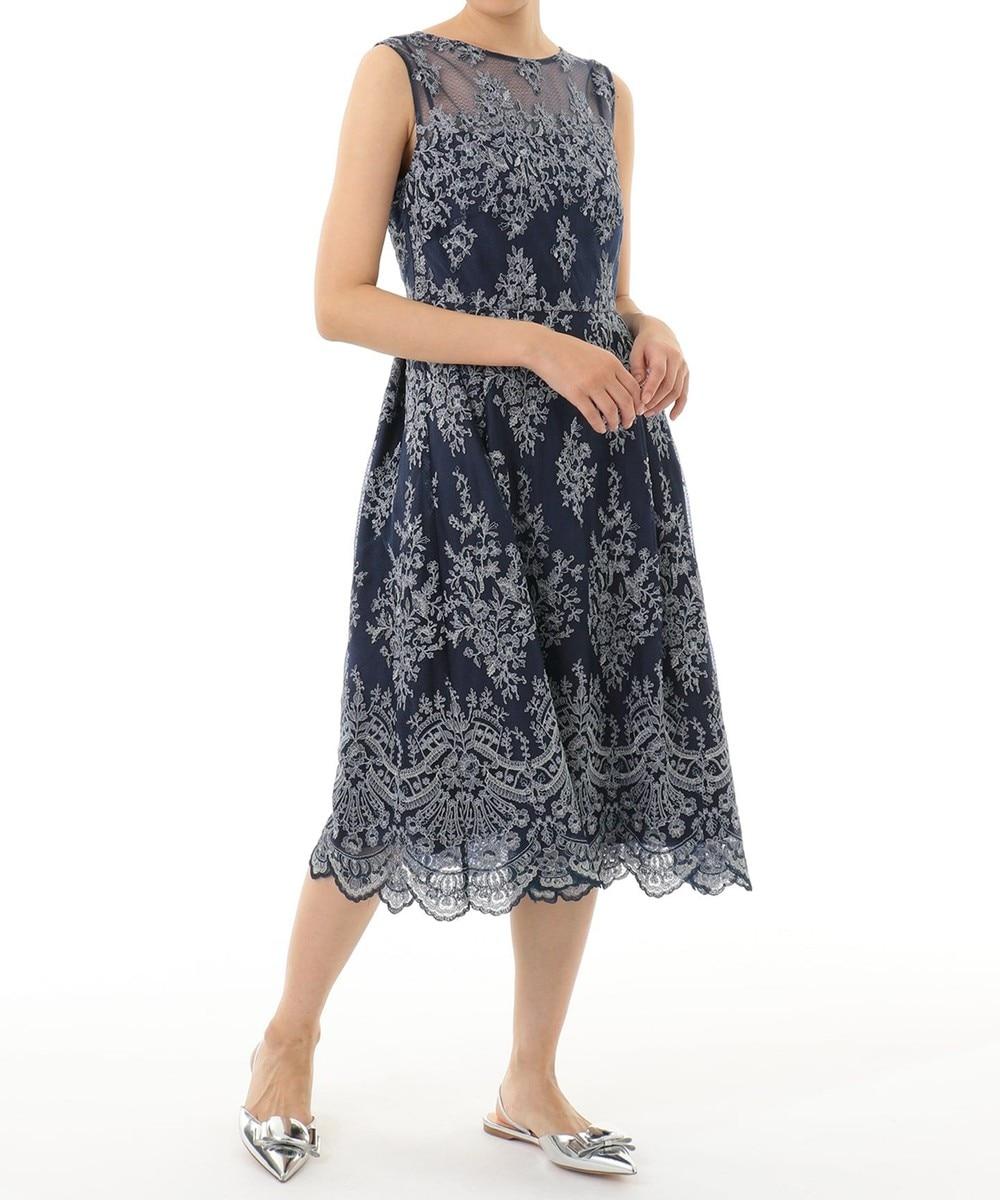 ラメフラワー刺繍ドレス