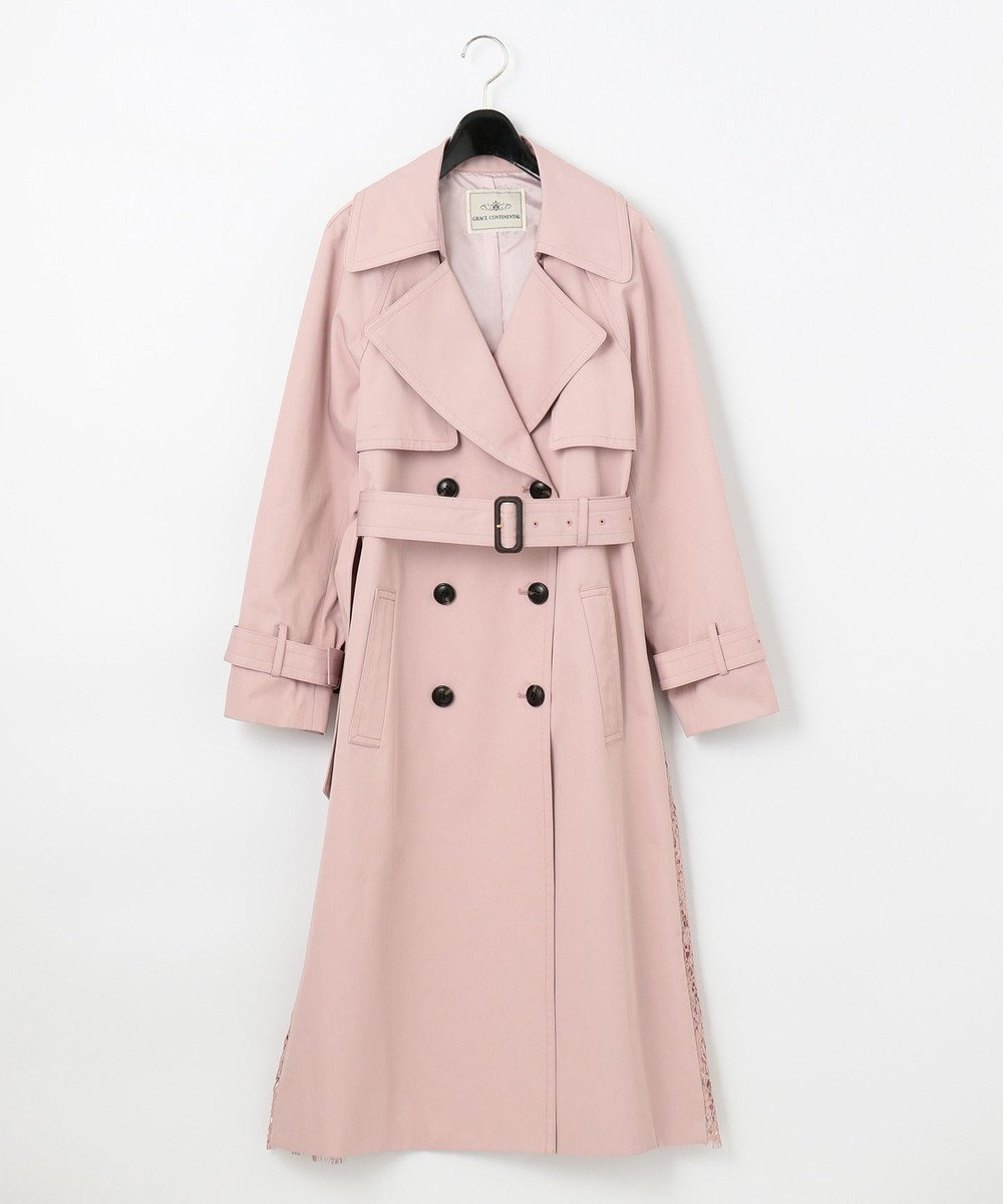 GRACE CONTINENTAL バックレーストレンチコート ピンク