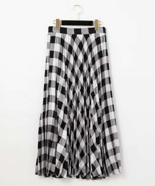 GRACE CONTINENTAL ラメチェックプリーツスカート シルバー