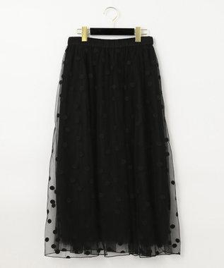 GRACE CONTINENTAL ドットembチュールスカート ブラック