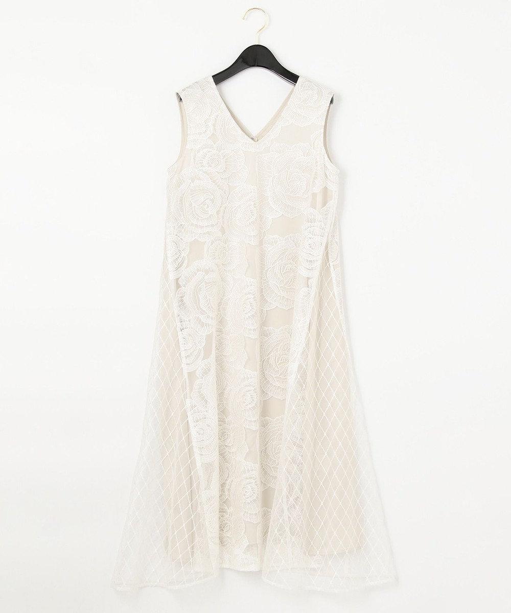 GRACE CONTINENTAL ローズembコンビドレス ホワイト