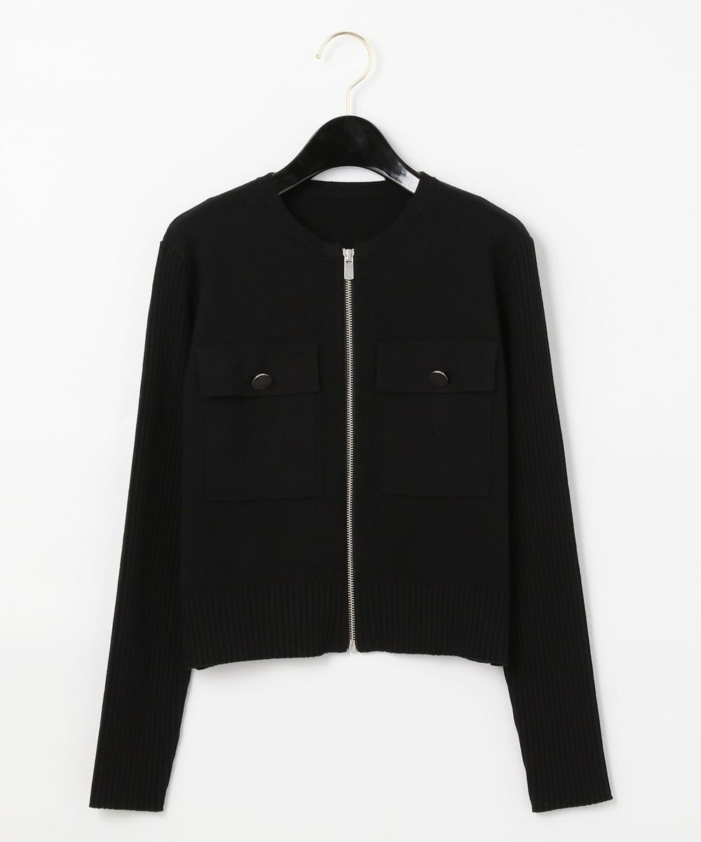ノーカラーニットジャケット
