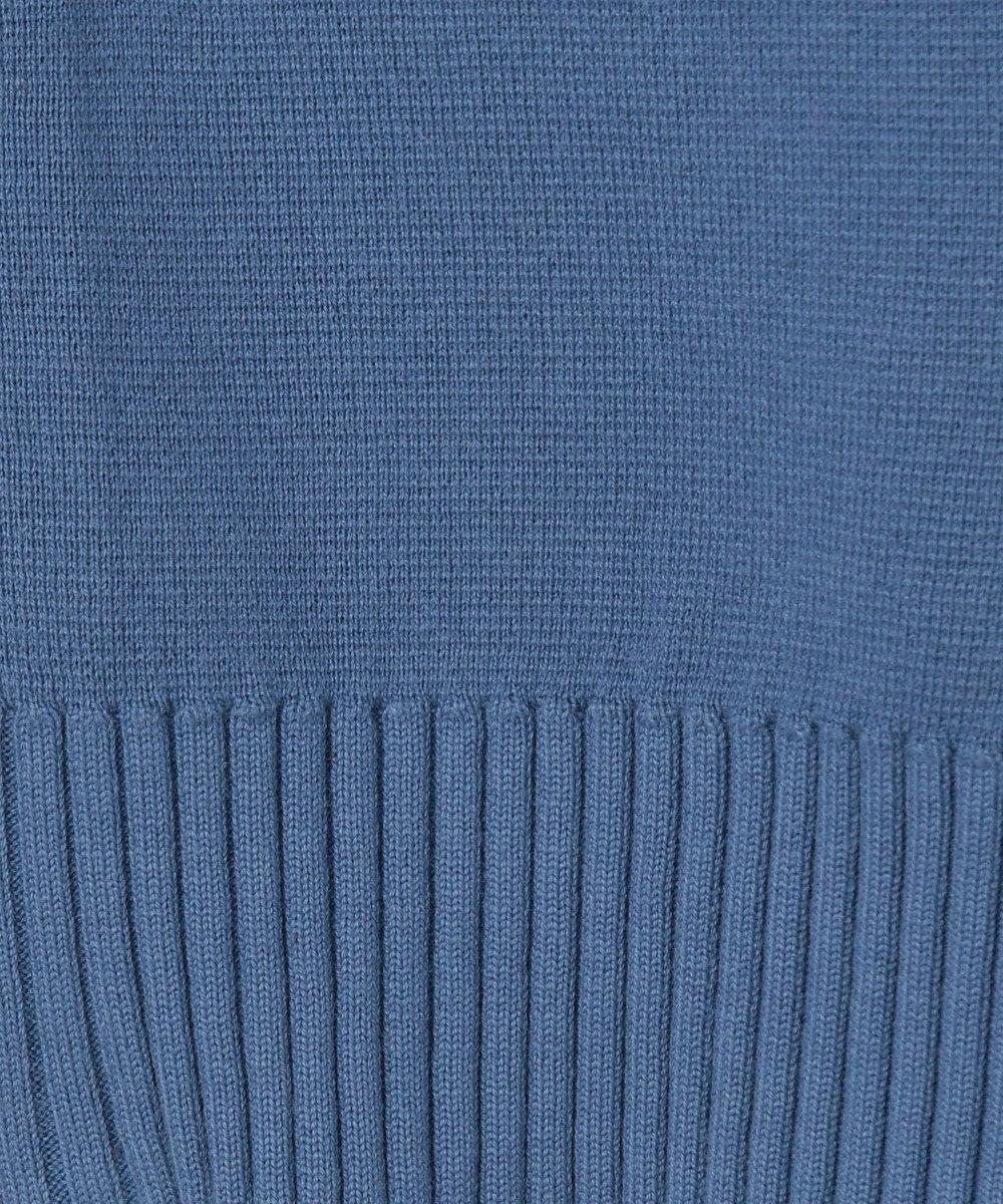 GRACE CONTINENTAL ノーカラーニットジャケット ブルー