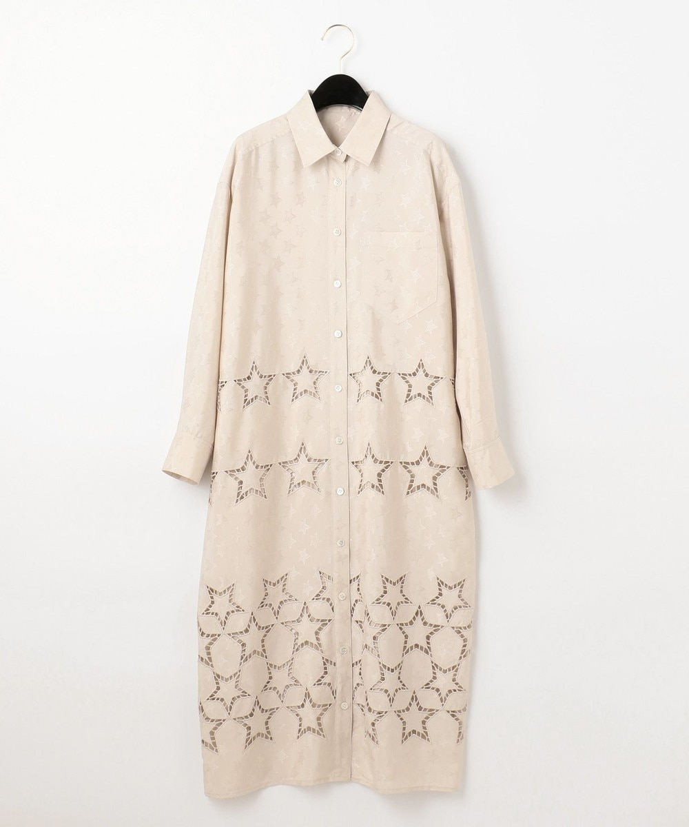 スター刺繍シャツワンピース